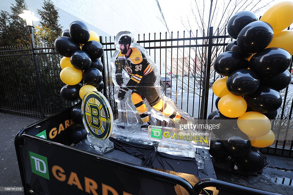 Ice sculpture of Zdeno Chara #33 of the Boston Bruins is shown outside TD Garden before a game against the New York Rangers at the on January 19, 2013 in Boston, Massachusetts.