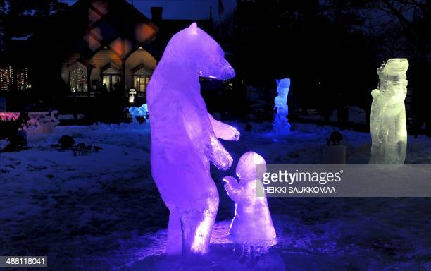 Ice sculptures named 'I'll share with You' by Helena Rismondo from Slovenia is pictured during the international ice sculpting festival Art Meets Ice...
