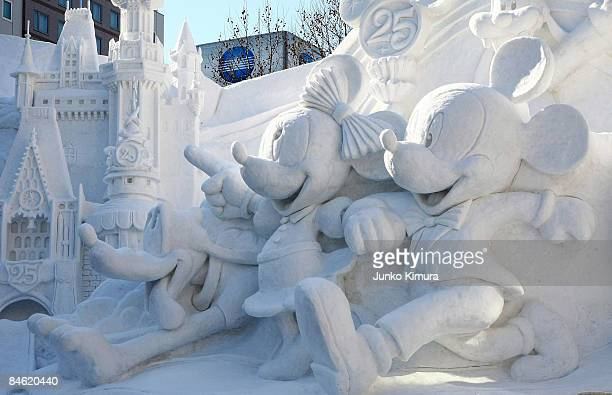 Ice sculptures of Disny characters are displayed ahead of the opening of the 60th Sapporo Snow Festival at Odori Park on February 4 2009 in Sapporo...