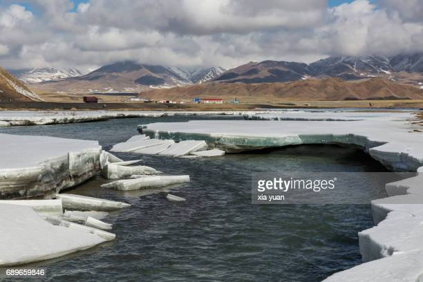 Ice sheet cracking apart with spring thaw on Bayanbulak,China