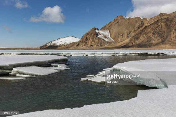 Ice sheets melting with spring thaw,Bayanbulak,China