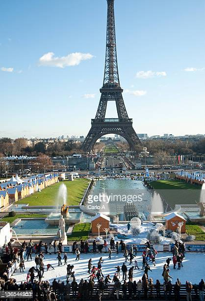 Ice skate rink with Eiffel Tower, Paris