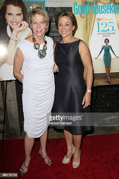 Ice skater Dorothy Hamill and guest walk the red carpet during Good Housekeeping's 'Shine On' 125 years of Women Making Their Mark at New York City...