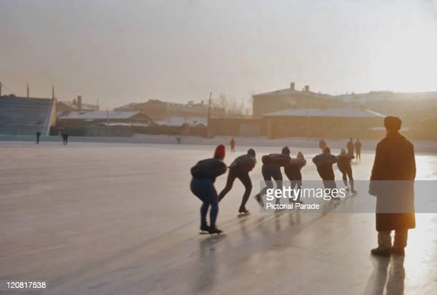 Ice skaters in Irkutsk Siberia former Soviet Union 11th December 1965
