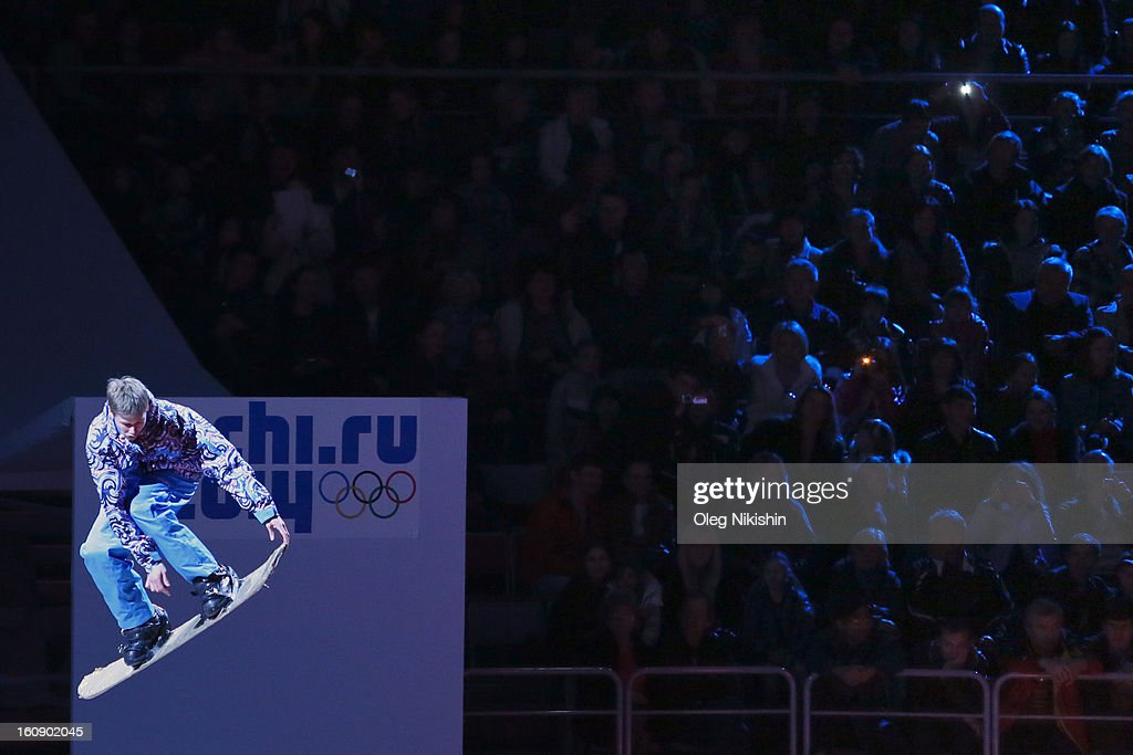 Ice skaters perform during the 'Sochi 2014 - One Year To Go' ceremony at Bolshoi Ice Dome on February 7, 2013 in Sochi, Russia.
