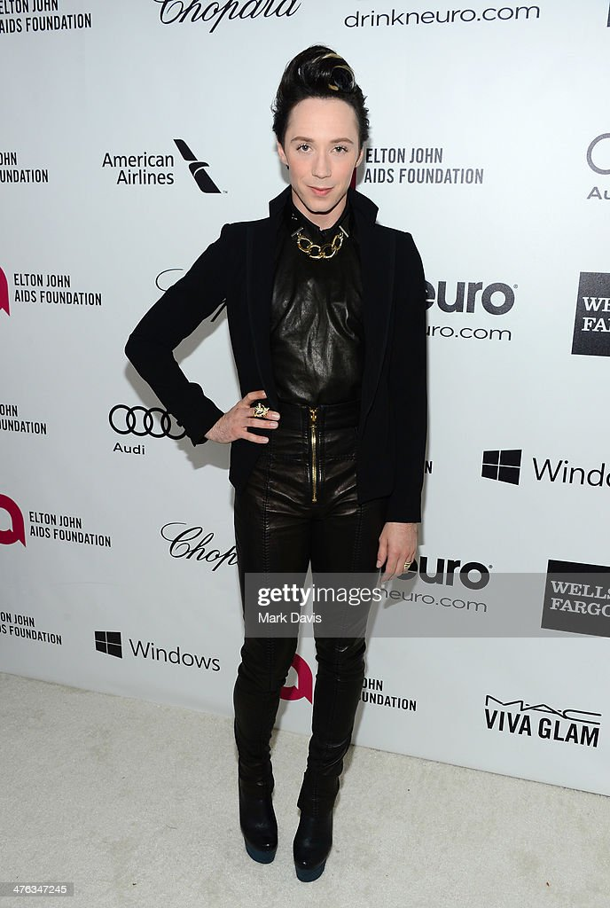 Ice skater/TV personality <a gi-track='captionPersonalityLinkClicked' href=/galleries/search?phrase=Johnny+Weir&family=editorial&specificpeople=208701 ng-click='$event.stopPropagation()'>Johnny Weir</a> attends the 22nd Annual Elton John AIDS Foundation's Oscar Viewing Party on March 2, 2014 in Los Angeles, California.