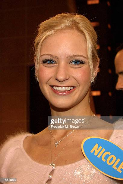 Ice skating champion Nicole Bobek attends the taping of the 'Family Feud' television show on January 28 2003 in Burbank California