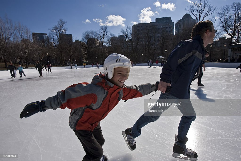 Ice skating in the city