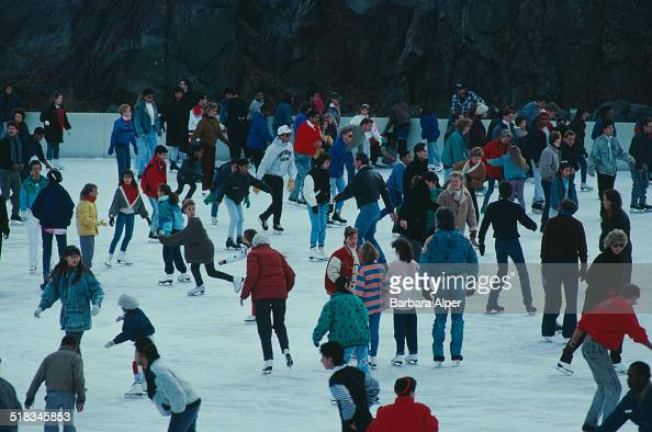 Ice skating on the Wollman Rink in Central Park New York City USA February 1988