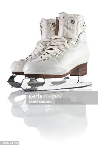 Ice skating shoes and blades  with clipping path