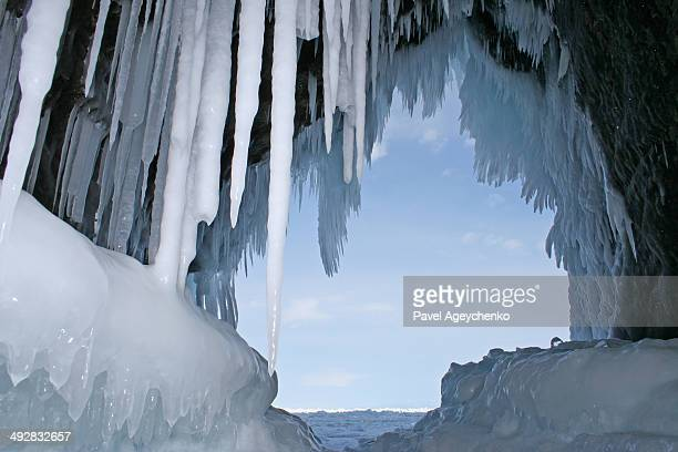 Ice Stalactites In A Grotto Of Khoboy Cape