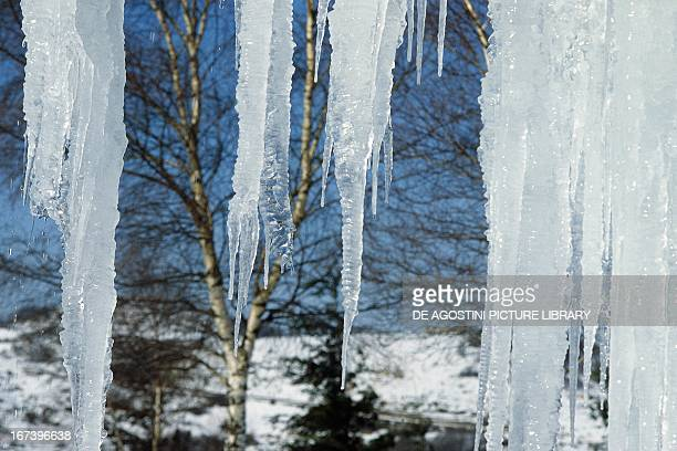 Ice stalactites in the Alta Val di Serchio province of Lucca Tuscany region Italy