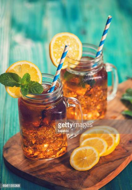 Ice Tea with Lemon and Mint in a Jar