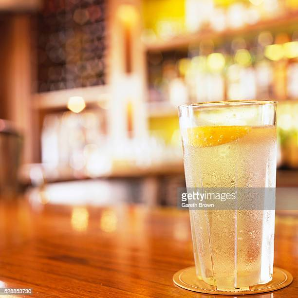 Ice Water with Lemon at Bar