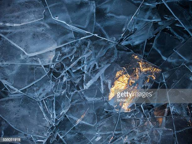 Ice which is illuminated by a sunbeam