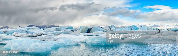 Iceberg glacier lagoon in Iceland panorama