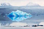 Iceberg reflected in lake