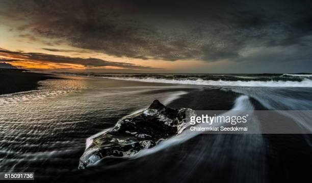 Icebergs at sunset on Black Sand Beach