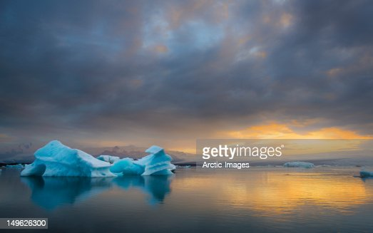 Icebergs floating in a Glacial Lagoon : Stock Photo