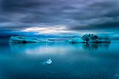 Icebergs floating in Jokulsarlon glacier lake. South Iceland.