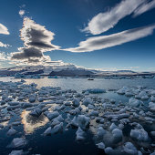 Icebergs floating in the Jokulsarlon, Iceland