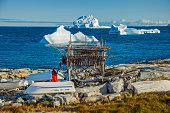 Icebergs in Disko bay.