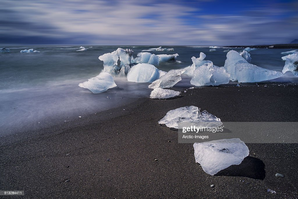 Icebergs of glacial ice on black sands, Iceland