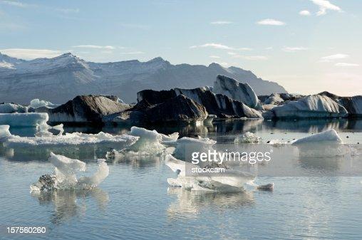 Icebergs wih volcanic ash in Iceland