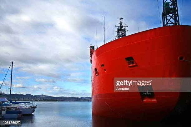 Icebreaker and Yachts in Hobart Harbor