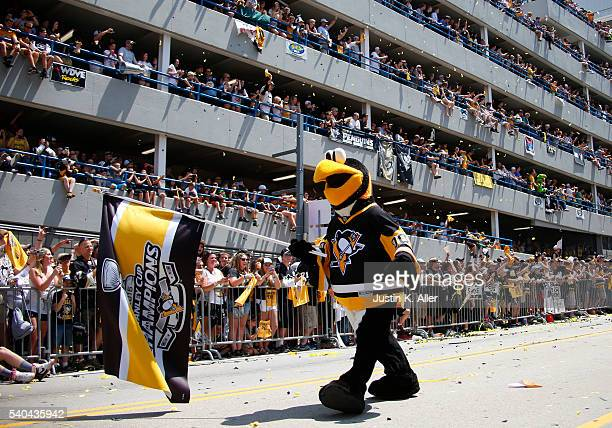Iceburgh celebrates during the Victory Parade and Rally on June 15 2016 in Pittsburgh Pennsylvania The Penguins defeated the San Jose Sharks to win...