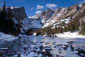 A wintry image of Dream Lake in Rocky Mountain National Park completely frozen over, with Hallett Peak in the distant left. Submerged rocks and snow in the foreground with a brilliant blue sky.