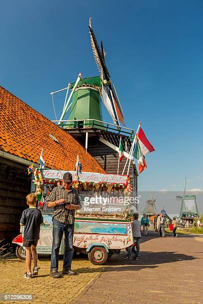 Icecream car below windmill at Zaanse Schans