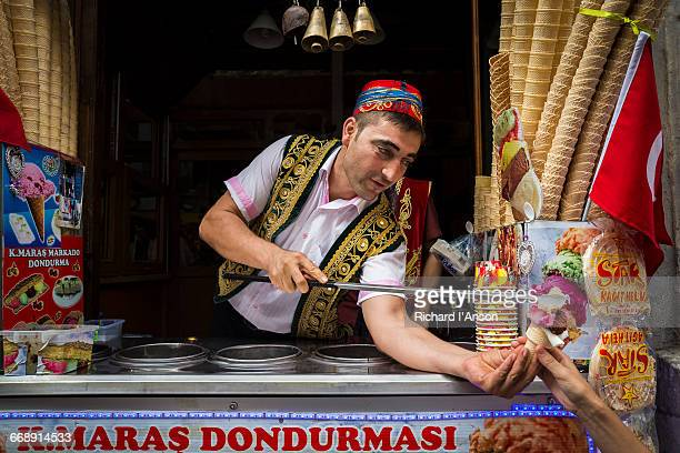 Ice-cream vendor on Istiklal Caddesi in Beyoglu