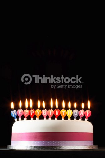 Iced Cake Lit With Happy Birthday Candles Stock Foto