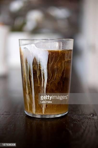Eis Kaffee und frische Sahne