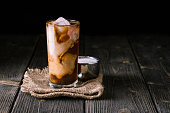 Iced coffee in a tall glass with ice on top.
