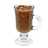 Iced coffee or mocha in irish coffee glass isolated on white background including clipping path