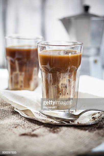 Iced coffee with sweet condensed milk