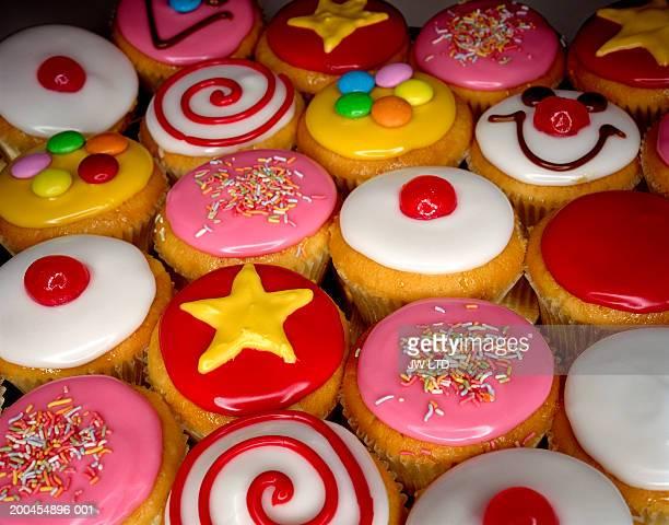 Iced cupcakes, close-up