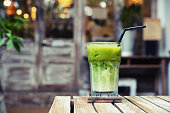 iced green tea at cafe