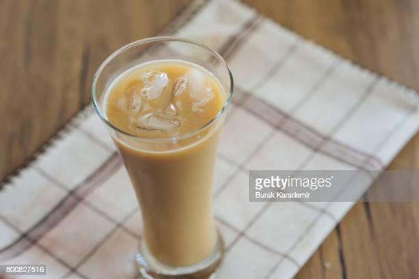 Iced latte on tea towel