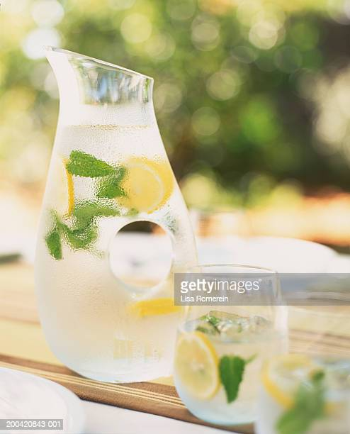 Iced water with lemon and mint
