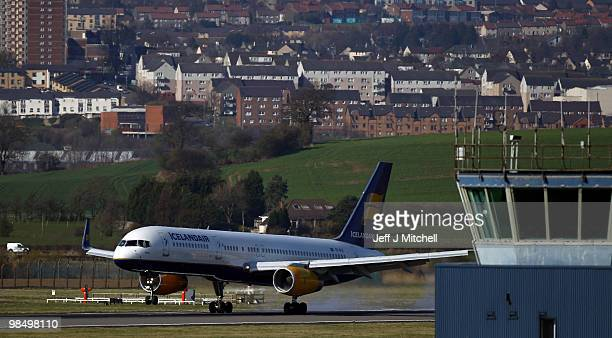 Iceland air flight from Reykjavík lands at Glasgow Airport on April 16 2010 in Glasgow Scotland A small number of flights in and out of Scotland have...