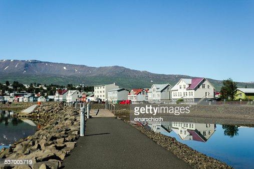 Iceland, Akureyri, View of village in mountains