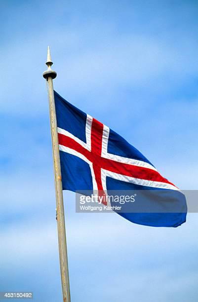 Iceland East Coast Djupavogur Fishing Village Icelandic Flag
