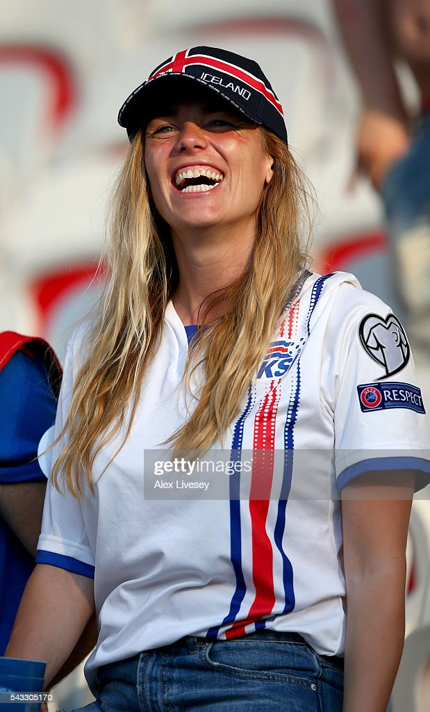 A Iceland fan shows her support prior to the UEFA EURO 2016 round of 16 match between England and Iceland at Allianz Riviera Stadium on June 27, 2016 in Nice, France.