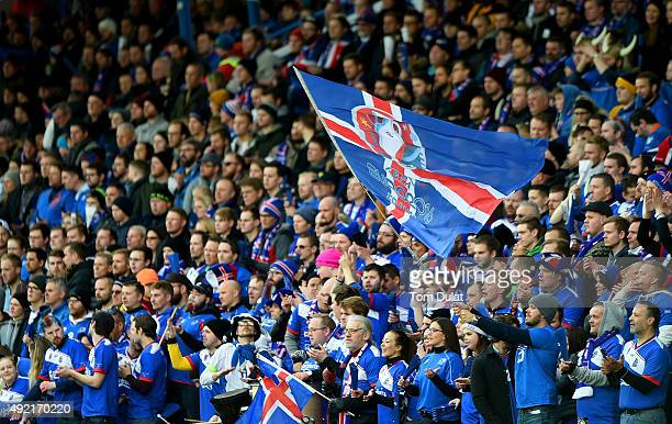 Iceland fans during the UEFA EURO 2016 Qualifier match between Iceland and Latvia at Laugardalsvollur National Stadium on October 10 2015 in...