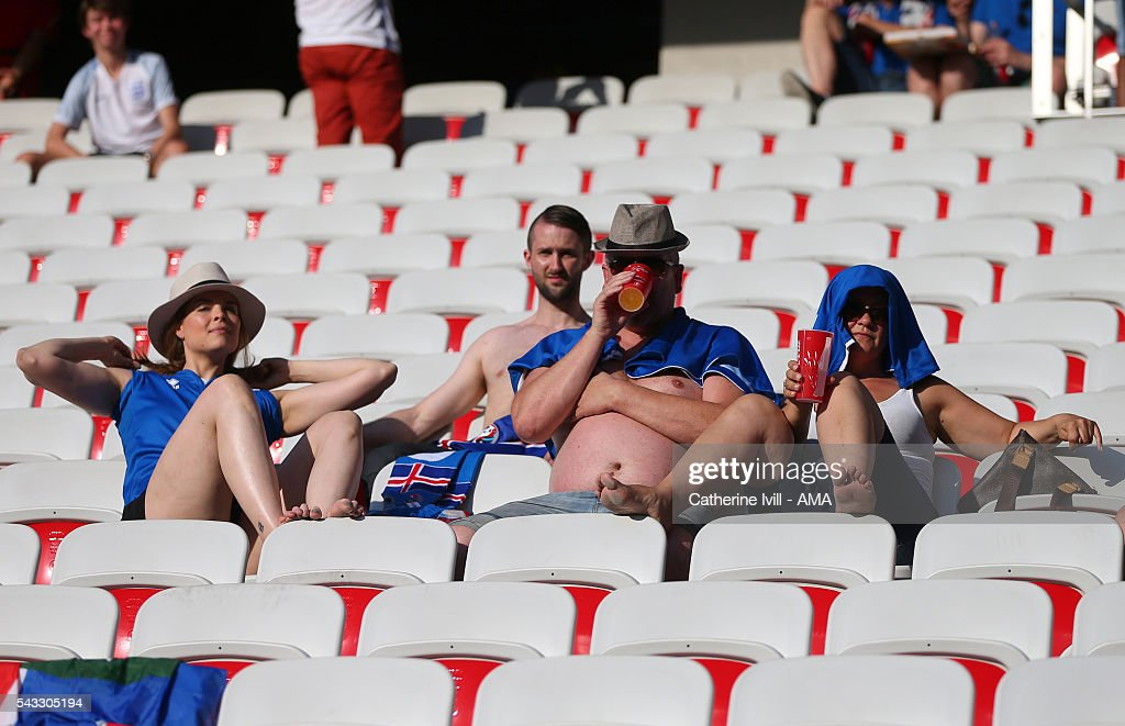 Iceland fans enjoy the sunshine ahead of the UEFA EURO 2016 Round of 16 match between England and Iceland at Allianz Riviera Stadium on June 27, 2016 in Nice, France.