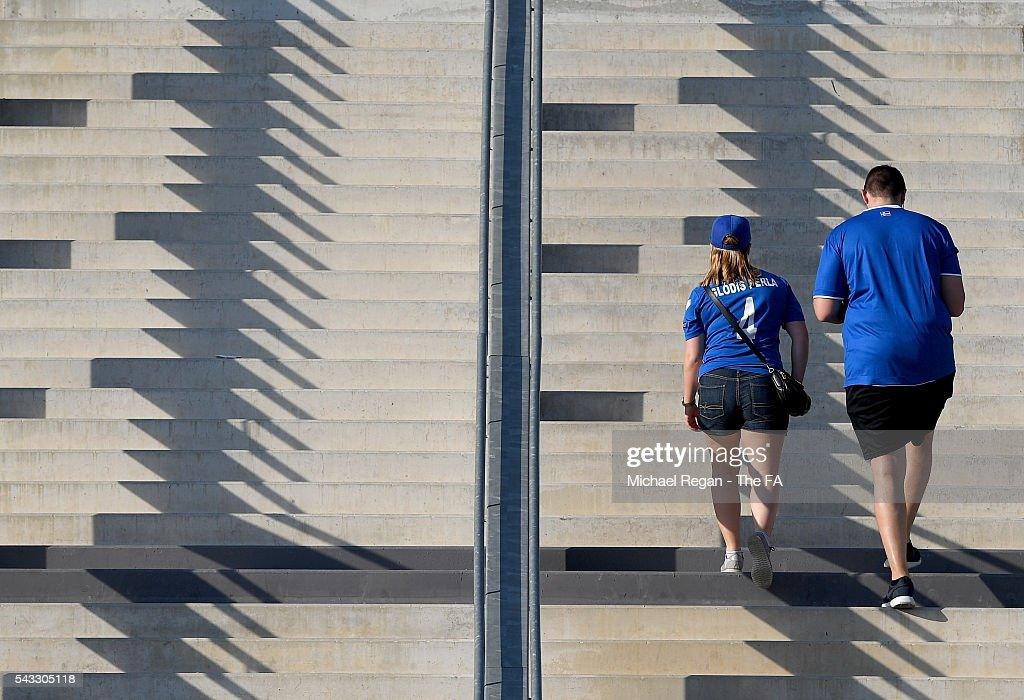 Iceland fans make their way to the stadium prior to the UEFA EURO 2016 round of 16 match between England and Iceland at Allianz Riviera Stadium on June 27, 2016 in Nice, France.
