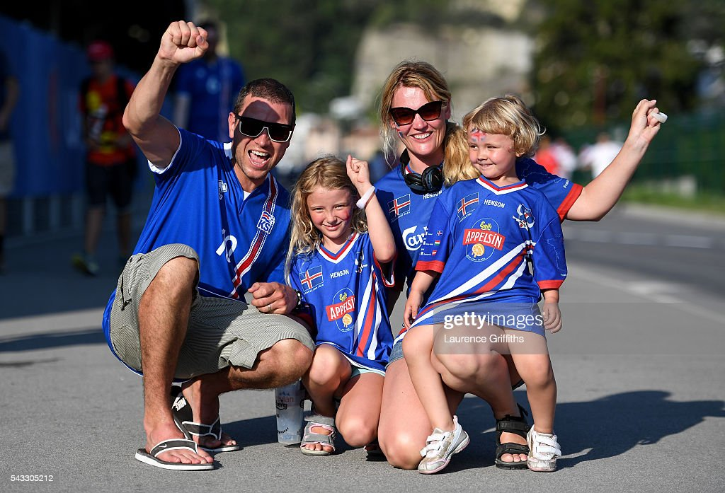 Iceland fans pose for photographs on their way to the stadium prior to the UEFA EURO 2016 round of 16 match between England and Iceland at Allianz Riviera Stadium on June 27, 2016 in Nice, France.